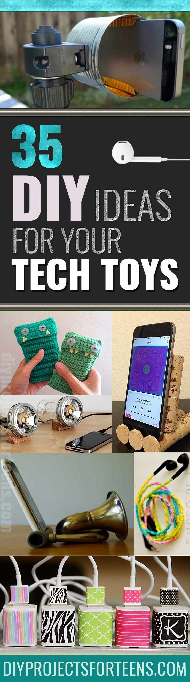 Awesome DIYs for your Tech Toys - Cool Ideas for iphone covers cases, phone chargers, speakers, headphones, monogram and crafts ideas for your case. step by step tutorials for case makeovers and creative custom iphone