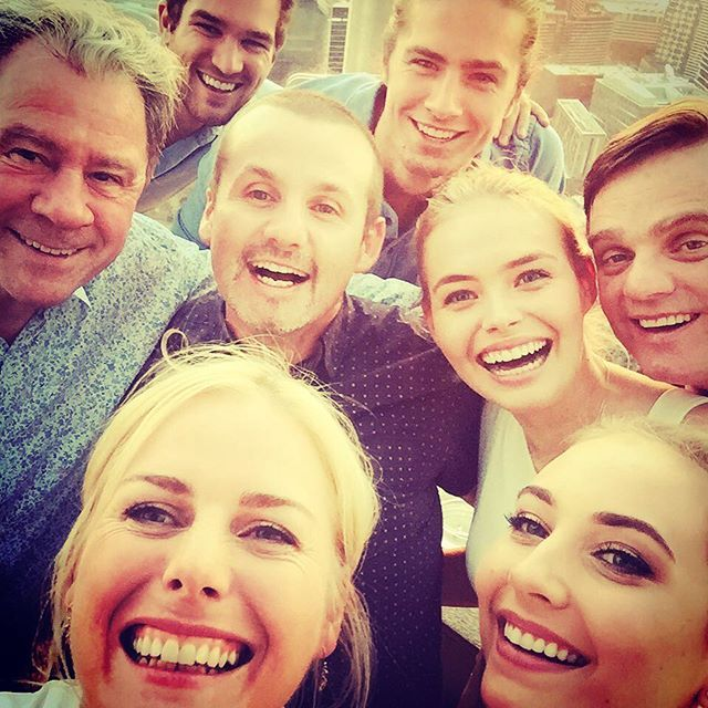 What a teethy bunch, esp the horse, ie me, at the bottom of frame! Great times @neighbourstv get together with @mavournee_hazel @lillyvandermeer @mrtravisburns and Ryan, Ben, Damien and Greg!!