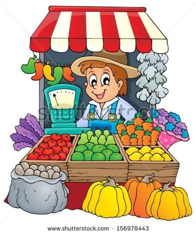 Cartoon Children With Fruits And Vegetables Stock Vector
