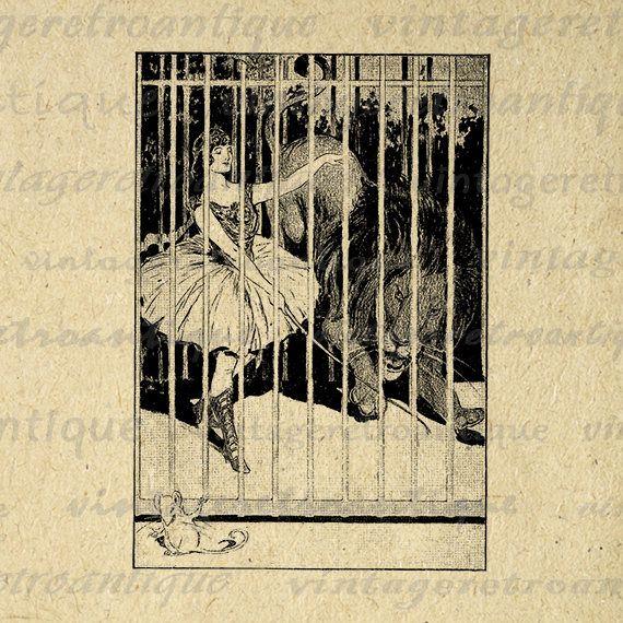 Printable Graphic Circus Girl with Lion Image Download Digital Illustration Vintage Clip Art Jpg Png Eps Print 300dpi No.1927 @ vintageretroantique.etsy.com #DigitalArt #Printable #Art #VintageRetroAntique #Digital #Clipart #Download