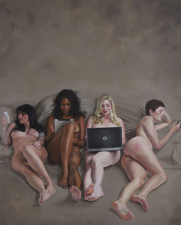 Darkly Humorous NSFW Paintings Critique Society's Relationship With Technology