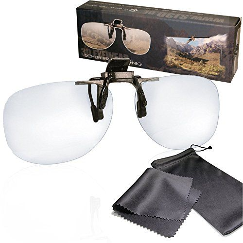 """From 6.90 3d Clip On Glasses - For Reald Cinema Use And Passive 3d Tvs Such As Lg """"cinema 3d"""" And Philips """"easy 3d""""- Circularly Polarized - With Pouch"""