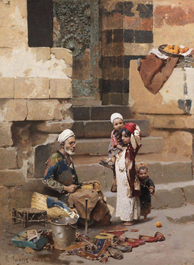 https://flic.kr/p/vvBvAk | Raphael von Ambros - The Old Shoe Maker, Cairo [1892] | Raphael von Ambros (1854 - 1895) was an Austrian painter.  [Bonham's - Oil on panel]