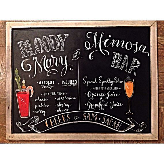 Bloody Mary and Mimosa Bar Sign by Lefty Lady Lettering Co.