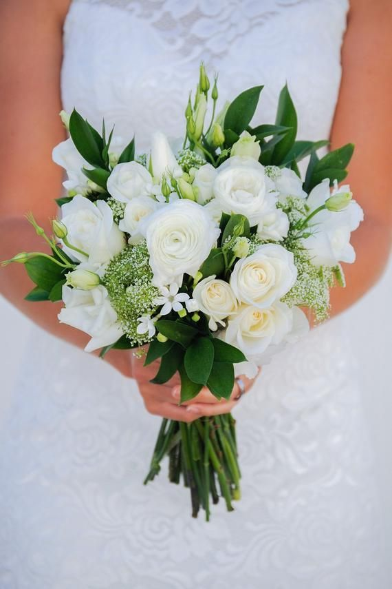 Simple White Wedding flowers, Bouquet, Whimsical Wedding Flowers, White Wedding, White and green cen – Flower