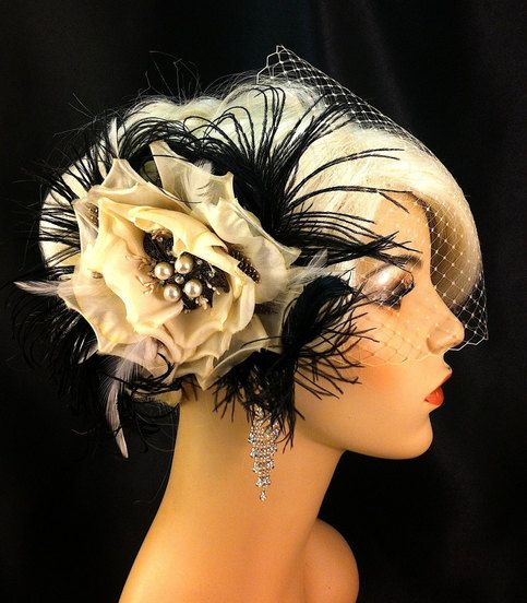 """~Deep+Ivory+Rose+made+from+the+finest+Silk~ ~4+Curled+black+Ostrich+Plumes~ ~Large+Vintage+Style+Brooch+with+Crystal+Rhinestones+and+Pearl+Brooch~ ~Silver+Alligator+Clip+with+teeth~ ~5""""+not+including+feathers~ ~Champagne+or+Black+9""""+x+15""""+Birdcage+Bandeau+Veil~   Please+allow+up+to+12+day..."""