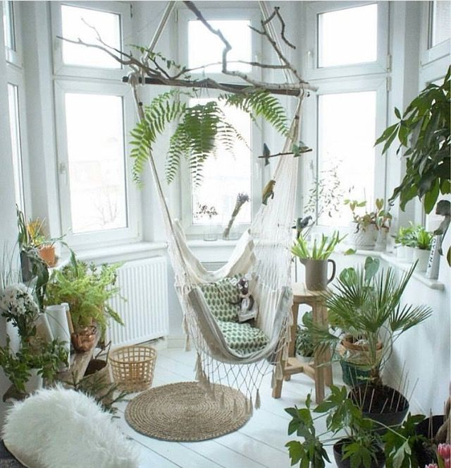 Lots of sunlight, white clean style with greenery, just beautiful! Found by Arletta Cwalina.
