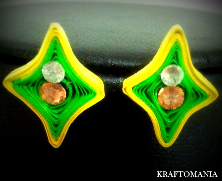 Handmade waterproof quilled earrings  material : acid free paper with swarovski flat base  KM Q45
