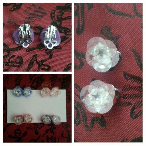 Lil Miss Mei Mei Felt and Sequined Clip on Earrings $ 5 shipped