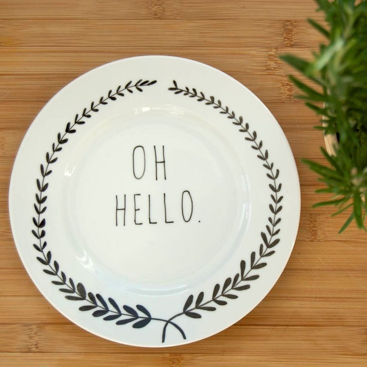 Illustrated Oh Hello Plate