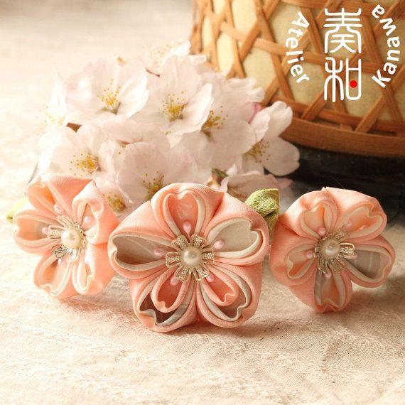 Hand Dyed 3 Sakura Cherry Blossom Tsumami by AtelierKanawa on Etsy, $49.99