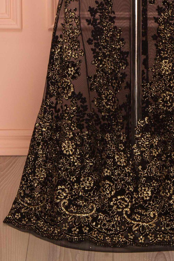 Longue robe noir et or scintillante - Black and gold glittery maxi dress