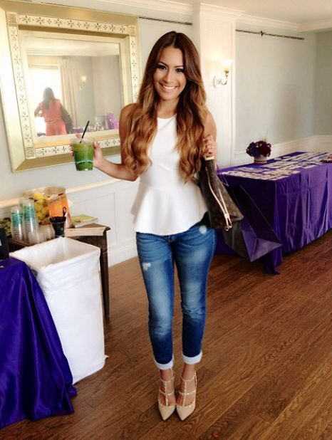 White peplum shirt, ripped jeans and Valentinos