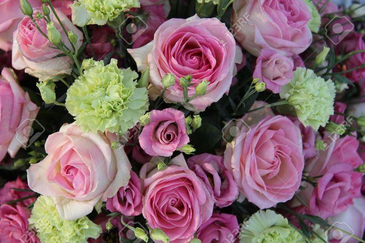 boeket groene anjer roze roos - Google zoeken