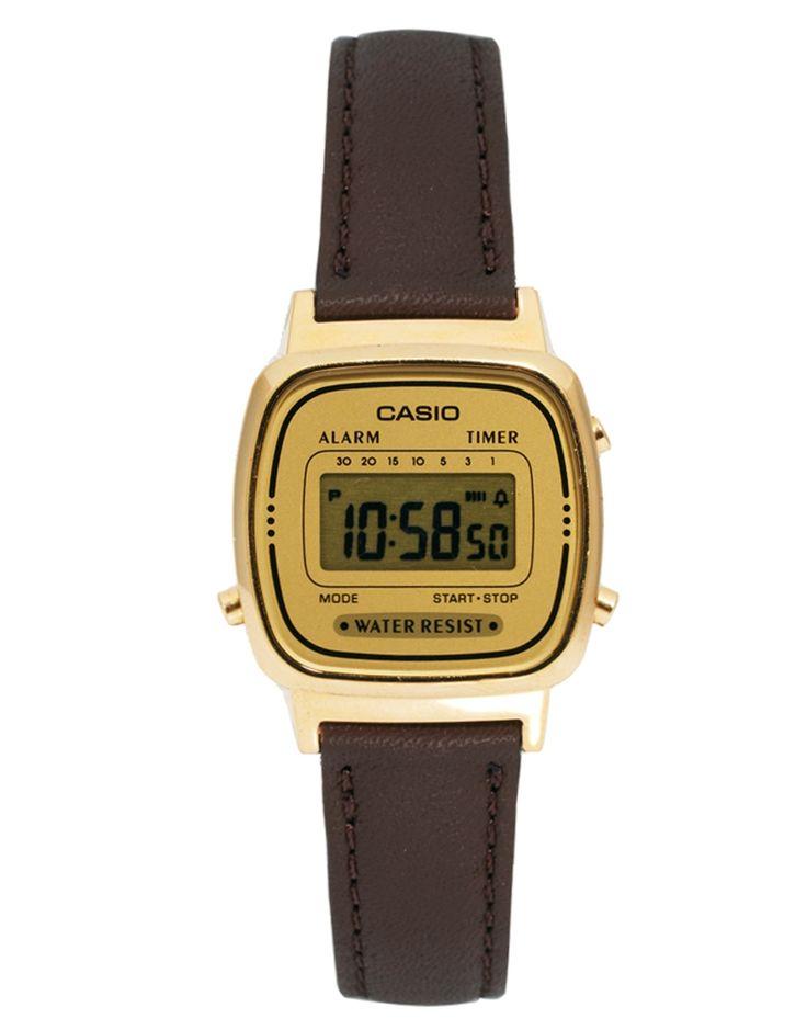 Armbanduhr von Casio - Armband aus echtem Leder - goldfarbenes Zifferblatt - digitale Multifunktionsanzeige - mehrere Kronen - Dornschließe - Schachtel mit Logo