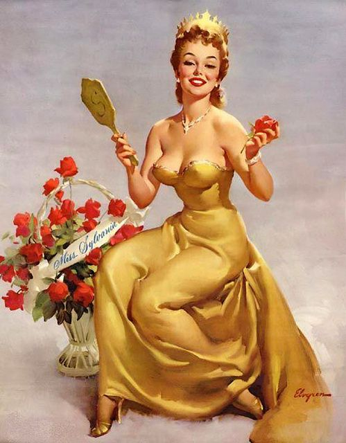 Gil Elvgren - This is one of a series of painting titled Miss Sylvania that were painted for Sylvania Electric Co.