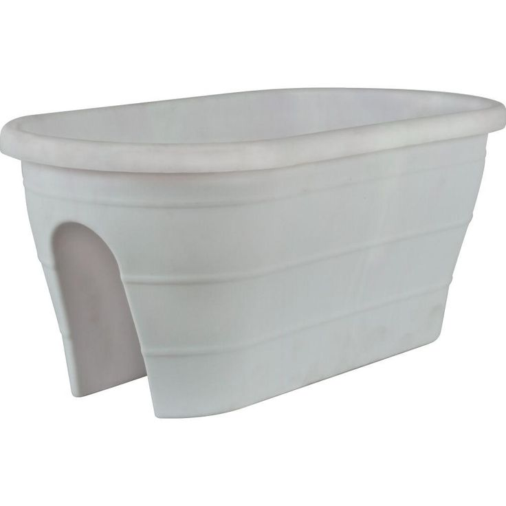 Pride Garden Products Mela 23 in. x 11 in. White Plastic Trough Rail Planter-83583 - The Home Depot