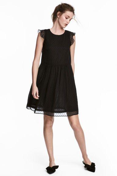 Платье с оборками на рукавах - Черный - Женщины   H&M RU