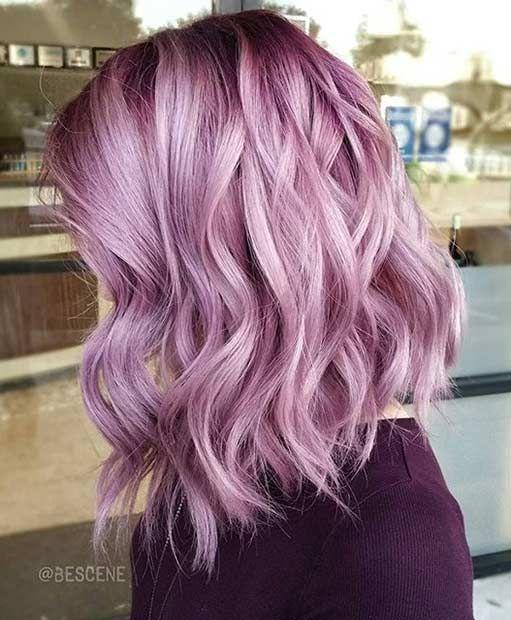 13 Pastel Pink Long Bob Hairstyle