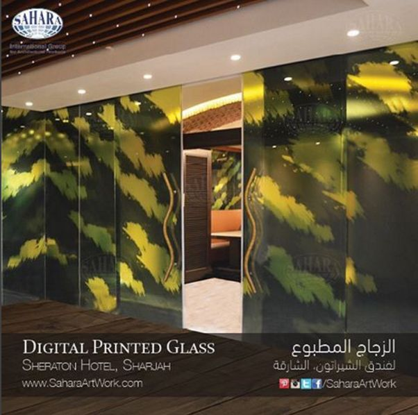 Digital printed glass door and partitions for the new Sheraton Hotel in Sharjah. Another beautiful customized piece made specially for this hotel! ✨