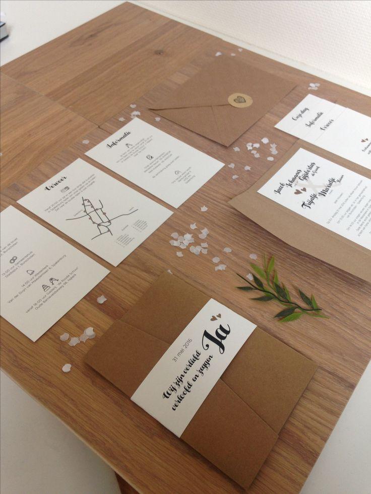 Kraft wedding invitation trouwkaart pocketfold