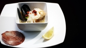 Seafood Casserole of Prawns, Mussels, Dhufish and Scallops with Chorizo Flakes