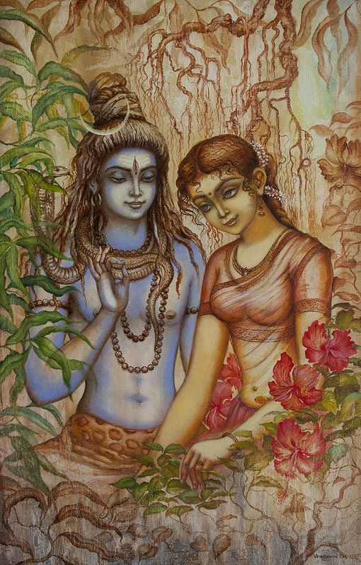 Shiva Print featuring the painting Shiva And Parvati by Vrindavan Das