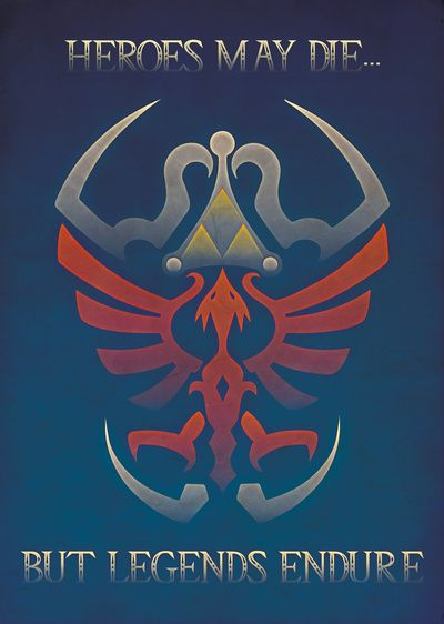 Gamer Art LoZ Shield Quote Textured Art Print