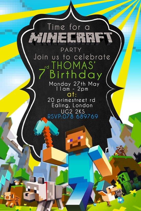 Minecraft Party Invitation Printable Minecraft by BumblesDesign - mine craft invitation template