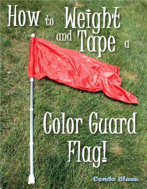 How to add cheater tape and weights to a marching band, drum corps, color guard, or winter guard flag pole.