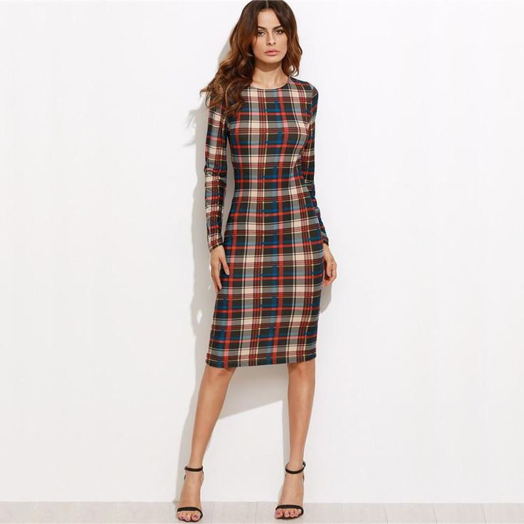 Multicolor Plaid Long Sleeve Knee Length Pencil Elegant Dress