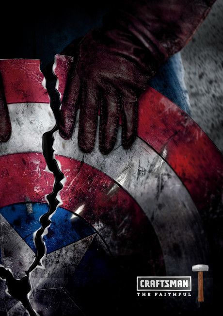 Egy magyar grafikus elképzelte, hogyan néznének ki a szuperhősök reklámhősökként - 4. kép: Amerika kapitány – Craftsman