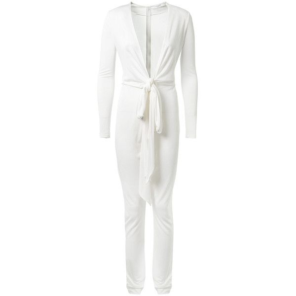 Givenchy White Viscose Jumpsuit ($1,635) ❤ liked on Polyvore featuring jumpsuits, givenchy, plunge jumpsuit, long sleeve jump suit, sheer jumpsuit and white long sleeve jumpsuit