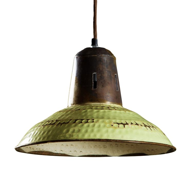 Give any space a feeling of history and a life well lived with this distressed vintage green pendant. Hanging from a metal chain, it's the perfect accent above your office desk, in the kitchen above a ... Find the Distressed Saucer Pendant in Vintage Green, as seen in the #ModernFrontierStyle Collection at http://dotandbo.com/collections/modernfrontierstyle?utm_source=pinterest&utm_medium=organic&db_sku=CGS0050