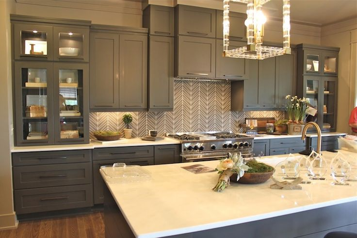 Best Gray Cabinets Gray Geometric Backsplash Kitchen Design 400 x 300