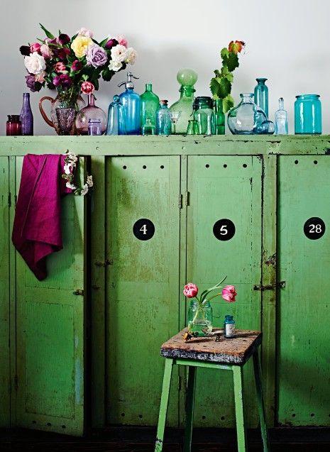 Fabulous colour - those wonderful lockers, bottles & flowers via Country Style photography Lisa Cohen