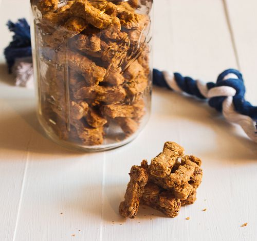 Apple, Carrot & Bacon Dog Biscuits - The Girl in the Little Red Kitchen (recipe)