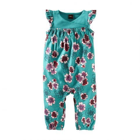 Not just another floral romper for baby! These plum blossoms will last through fall. #TeaSummer