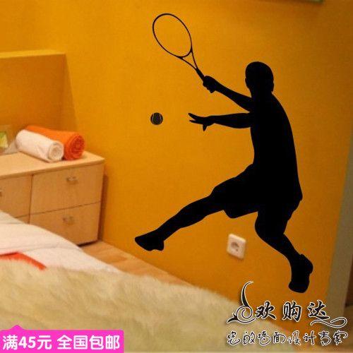 Sport tennis art muursticker jongen man tennis speler muur decor muurtattoo sport gym fitness tennis muursticker slaapkamer decor(China (Mainland))
