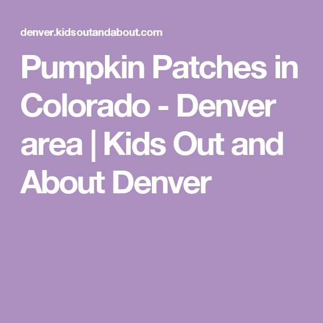 Pumpkin Patches in Colorado - Denver area | Kids Out and About Denver