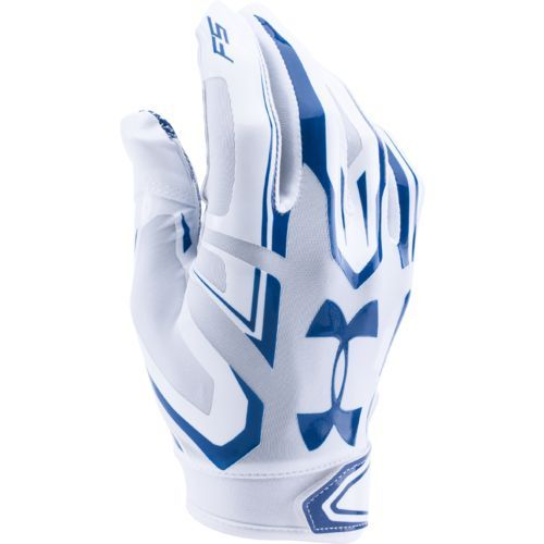 Under Armour Adults' F5 Football Gloves White/Medium Blue - Football Equipment, Football Equipment at Academy Sports