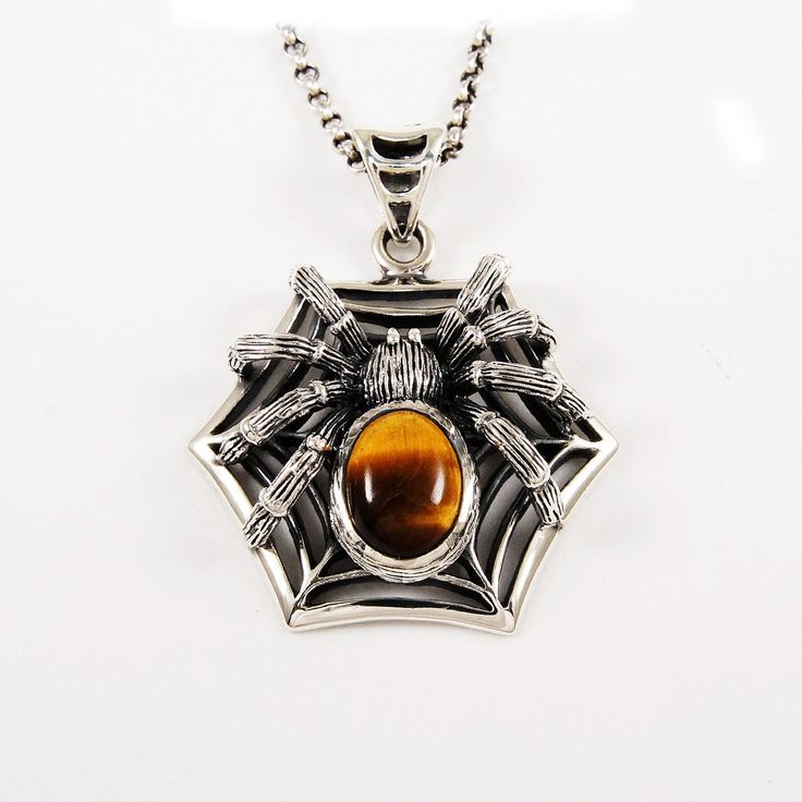 TARANTULA TIGER EYE WEB 925 STERLING SILVER MEN'S BIKER ROCKER PENDANT sa-061