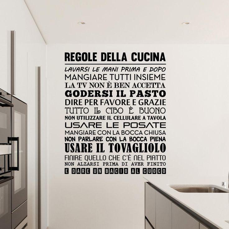 adesivi da parete regole della cucina wall sticker adesivo da muro italiano pinterest stickers cucina and wall stickers