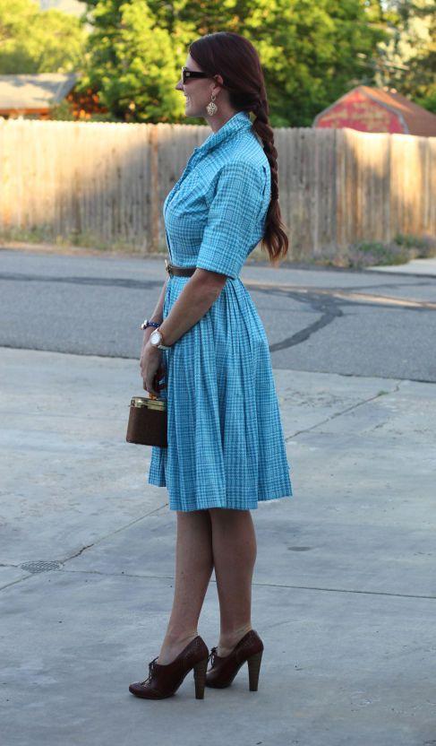 True Vintage~Blue Houndstooth Shirt Dress~Belted Button Front~M 6 #Unbranded
