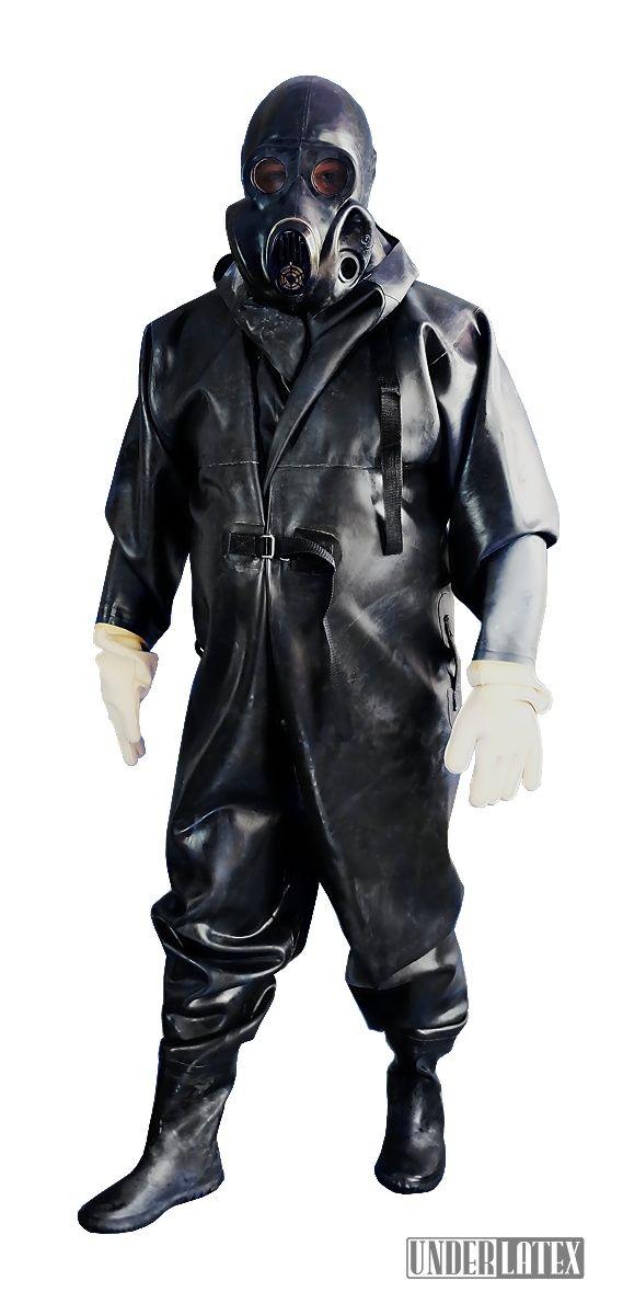 Heavy Rubber schwerer Gummianzug mit Stiefeln und Handschuhen 1,2mm Gummi mit russischer Gasmaske PBF in schwarz