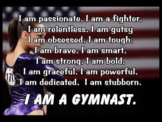 Gymnastics I AM A GYMNAST Quote Inspiration by ArleyArtEmporium