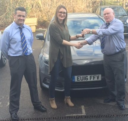 Alice Attwood absolutely loves her new Ford Focus ST-3 handed over here by John and Wesley at our Lakeside dealership!