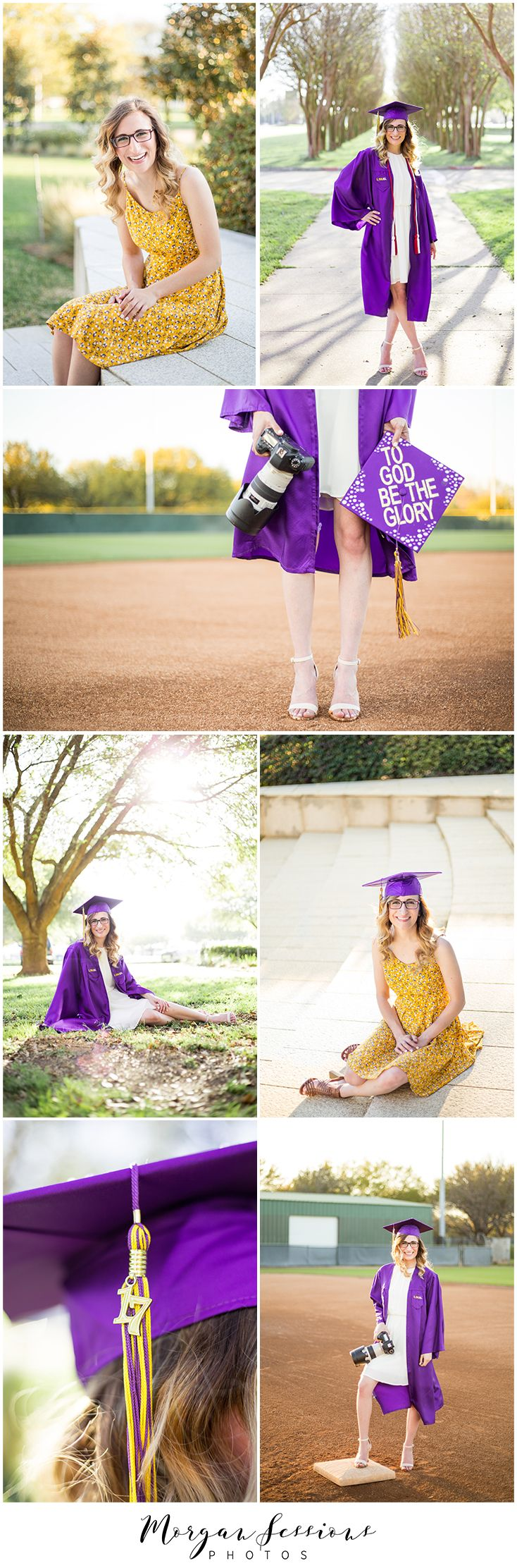 Senior Pictures. Girl Senior. Cap and Gown. Lifestyle Portraits. College Senior. LSU. Purple and Gold. Girl Laughing. Spring Senior Photos. Fashion. Style. Morgan Sessions Photos.