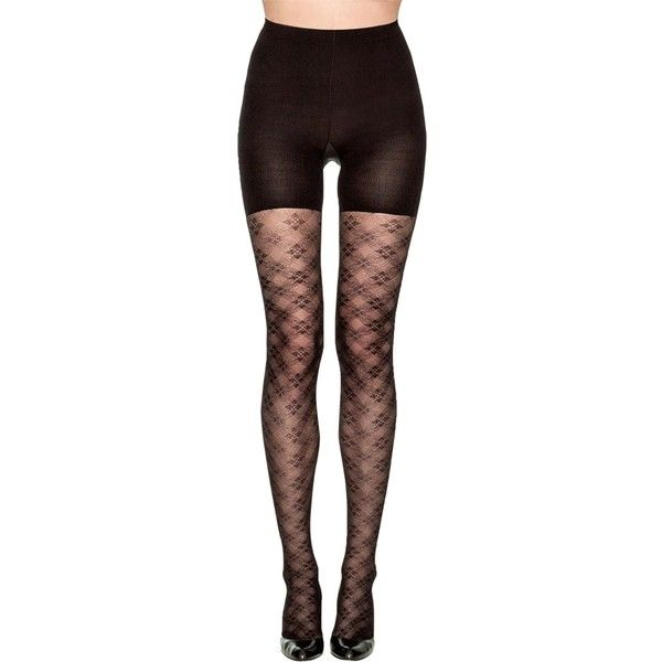 Spanx Tight-End-Tights® Floral Check ($23) ❤ liked on Polyvore featuring intimates, hosiery, tights, pants, accessories, bottoms, leggings, black, black pantyhose and floral print tights