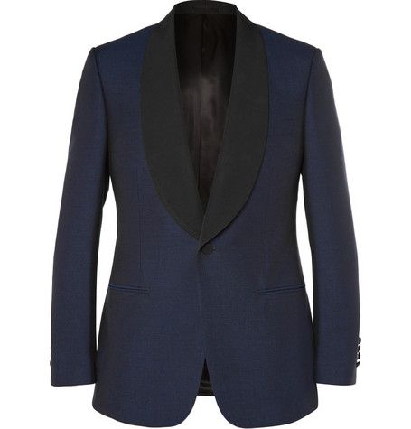 Kingsman Navy Slim-Fit Wool and Mohair-Blend Shawl-Collar Tuxedo Jacket | MR PORTER